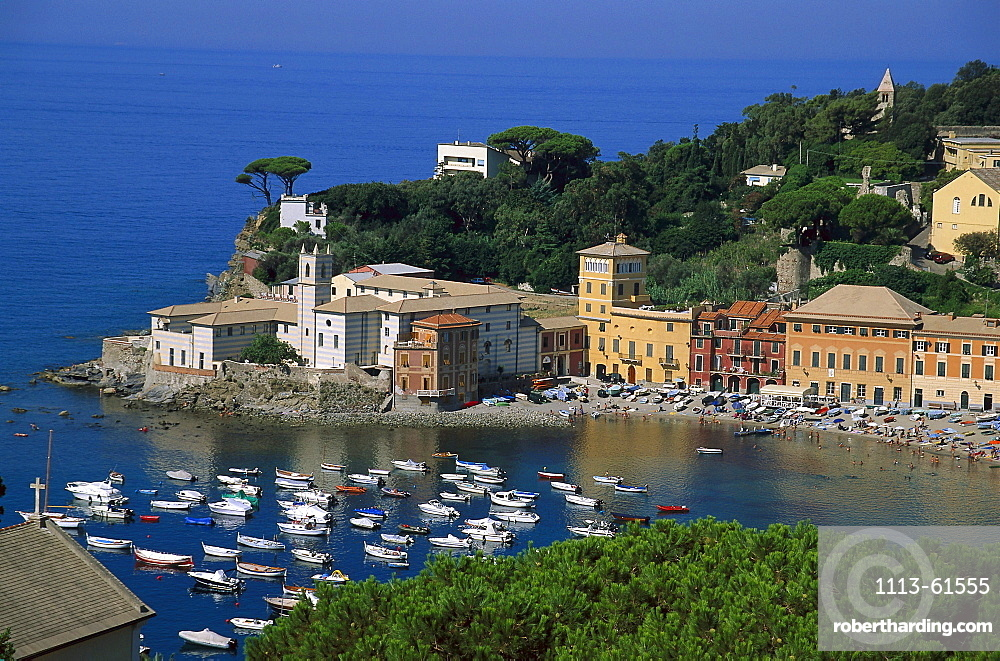 View at a bay with boats and the town of Sestri Levante, Riviera di Levante, Liguria, Italy, Europe