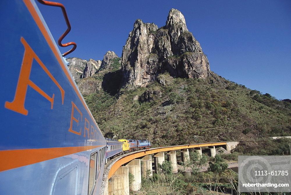 Train 'El Pacifico' under blue sky, Mexico, America
