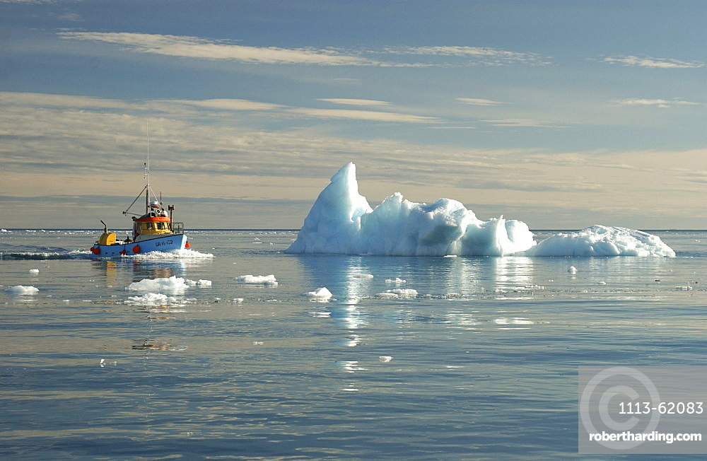 Fishing boat driving over the sea, Ilulissat, Greenland
