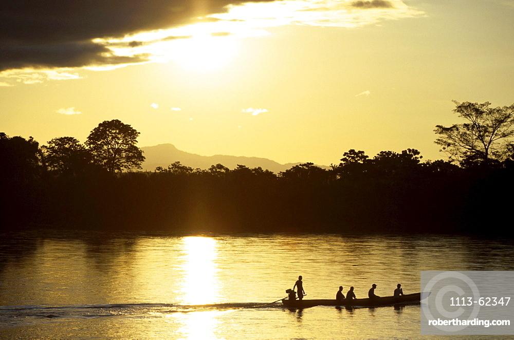 Boat on river Rio Beni at sunset, Rurrenabaque, Bolivia, South America, America