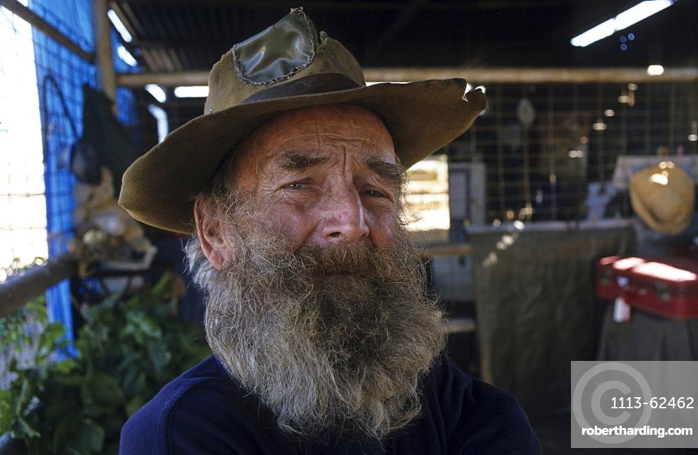 portrait of Leon, retired swagman, Winton, Matilda Highway, Queensland, Australia