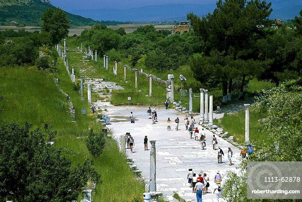 Marble road in the Ancient city of Ephesus, Turkish Aegean, Turkey