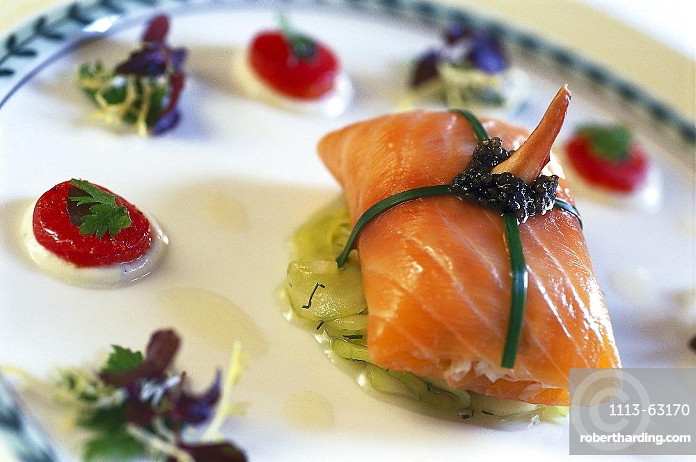 Salmon dish, Hotel Longuevelle, Manor, Jersey, Channel islands, Great Britain, Europe