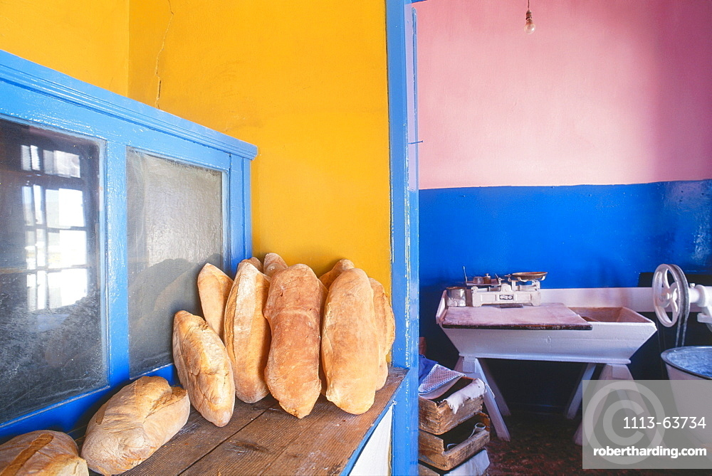 Bakery with coloured walls, Serifos, Cyclades, Greece