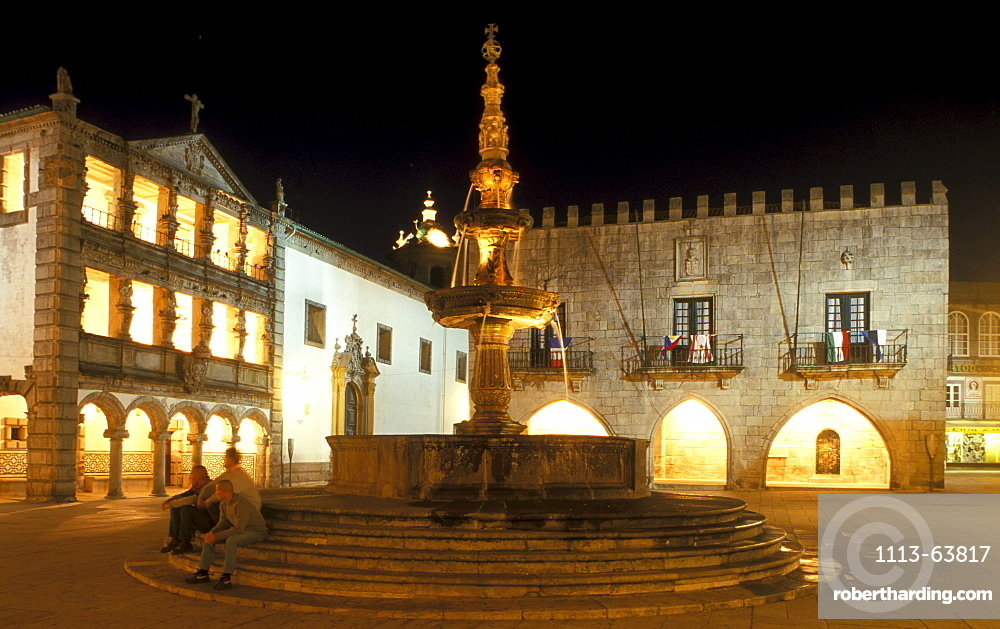 People on Praca da Republica at night, Viana do Castelo, Portugal