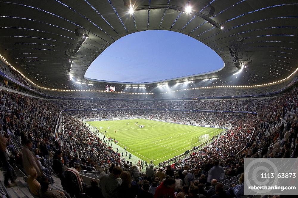 Soccer game, Allianz Arena, Munich, Bavaria, Germany