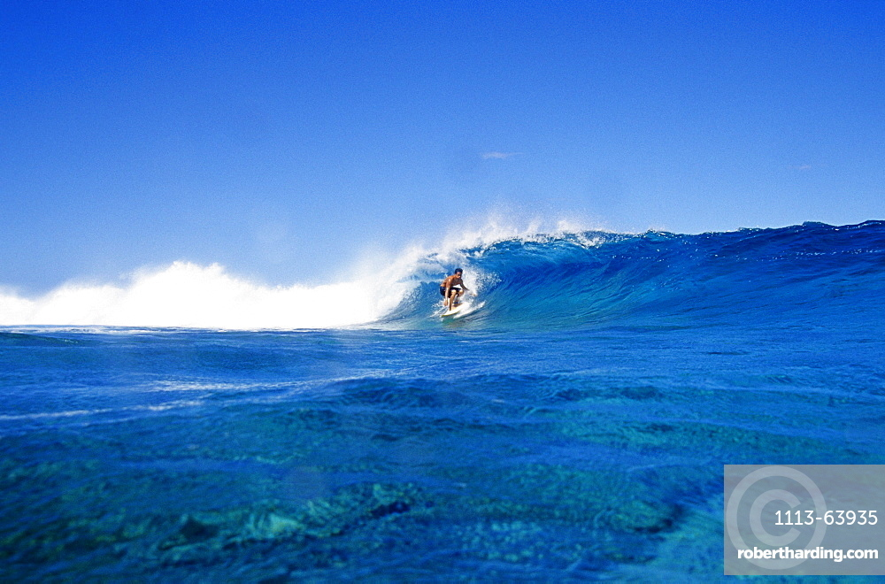 Surfer riding a wave, Teahupoo, Punaauia, French Polynesia, South Pacific
