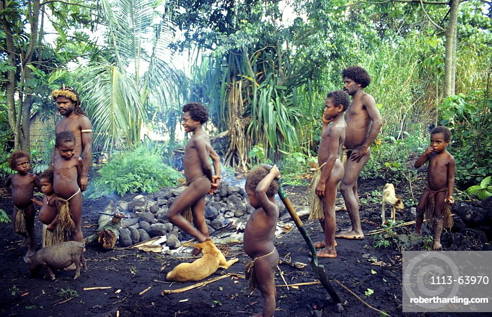 Village life, Earth oven, Yakel Village, Tanna, Vanuatu, South Pacific