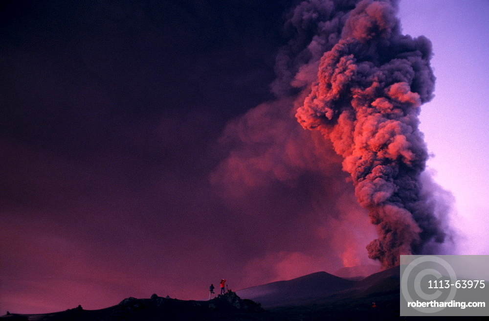 Volcano eruption and ash cloud, Etna, Sicilly, Italy