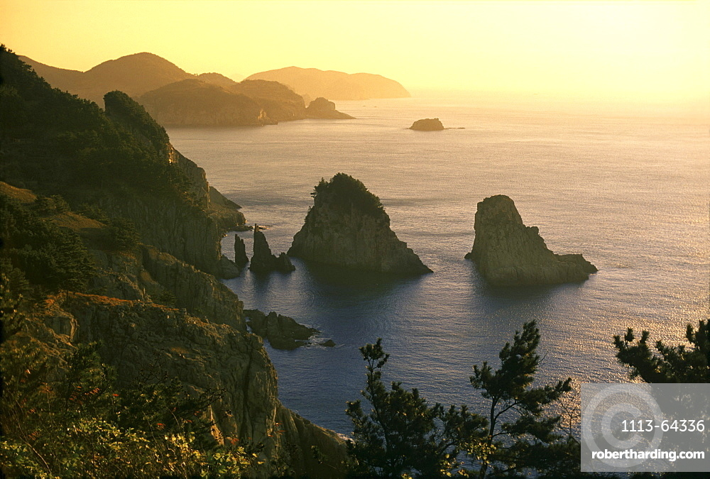 View at Yokchi-do island at chinese sea at sunset, South Korea, Asia