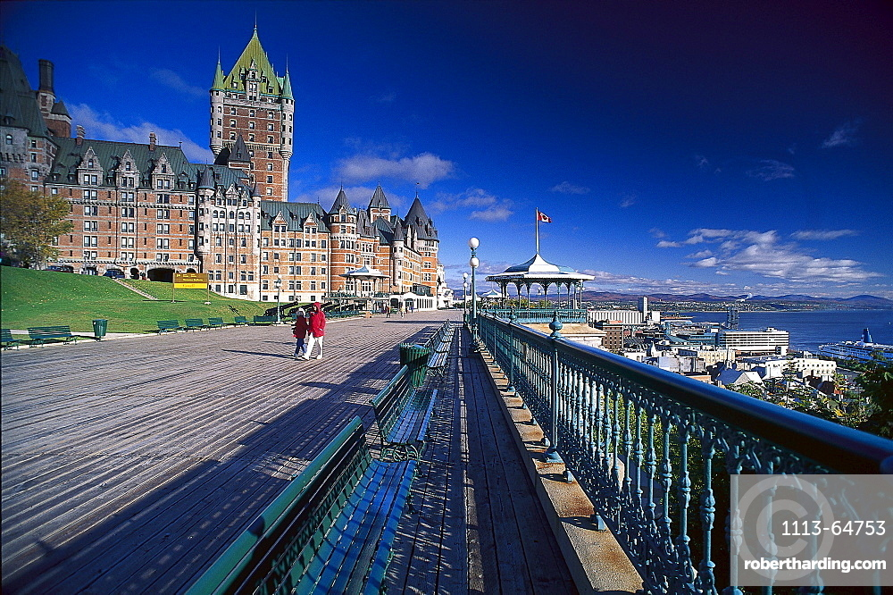 Terrace Dufferin, Chateau Frontenac, Quebec City, Quebec, Canada, North America, America