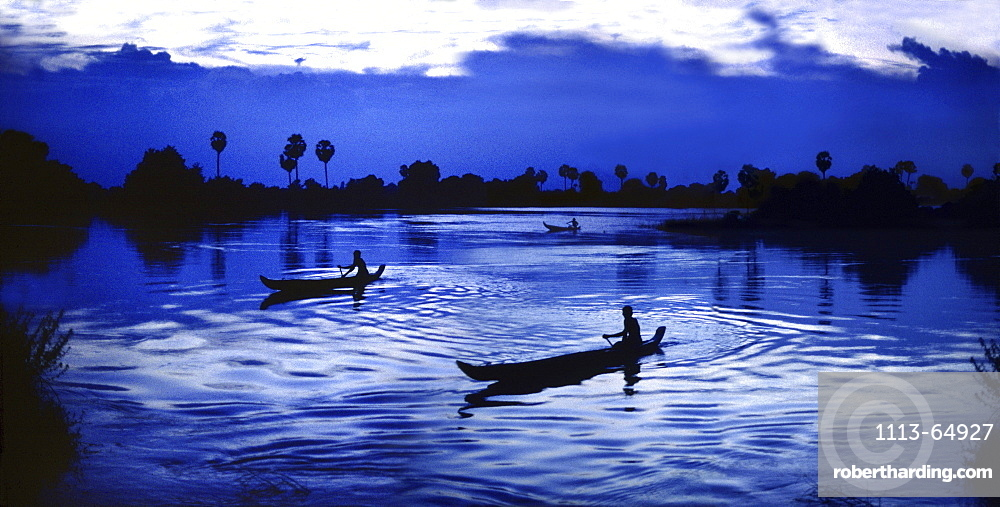 Fishermen on the Mekong river in the evening, Siem Reap Province, Cambodia, Asia