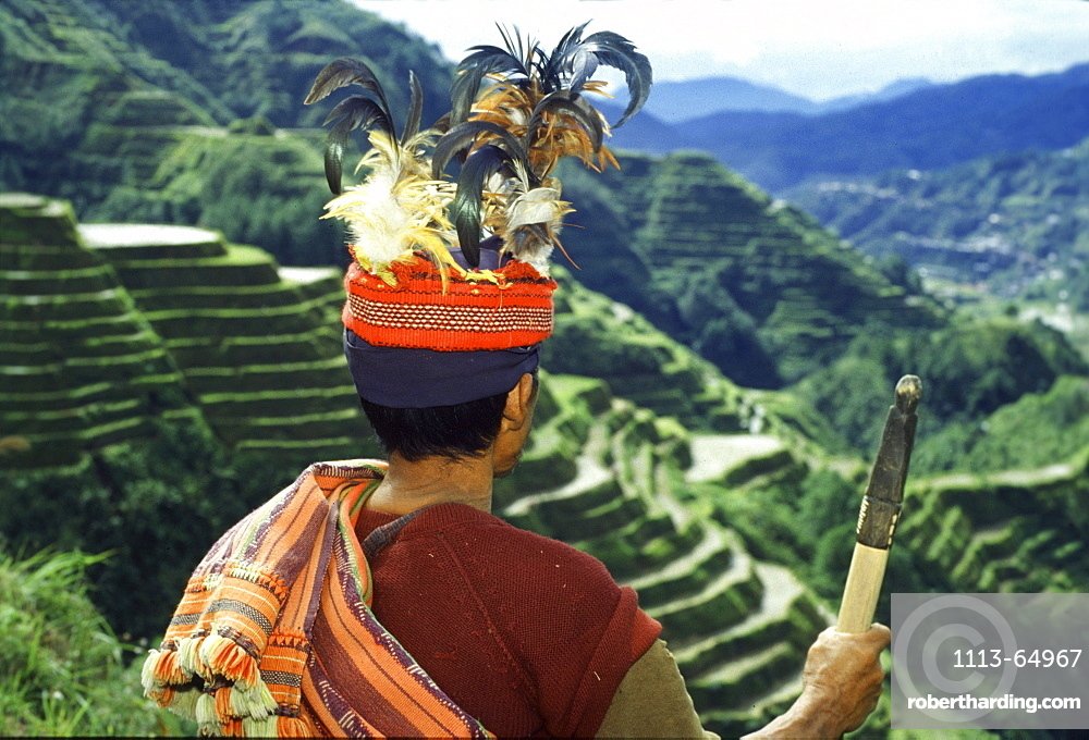Ifugao warrior, rice terraces, Banaue, Luzon Island, Philippines