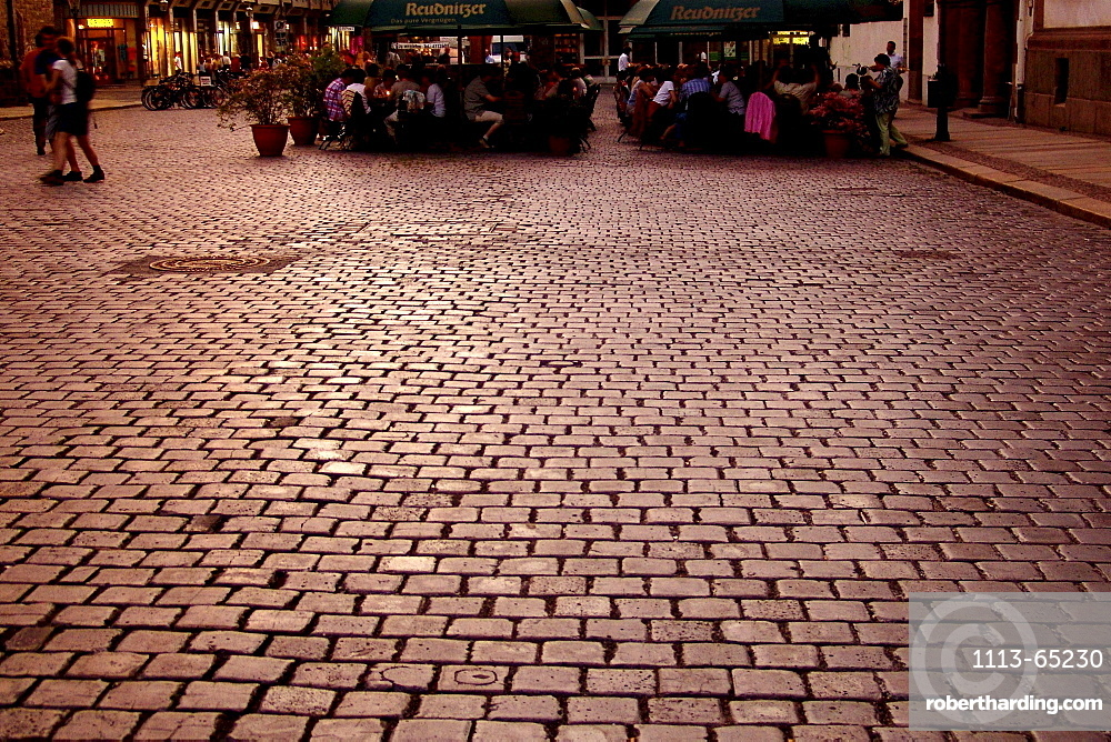View at cobblestone square in the old town, Leipzig, Saxony, Germany, Europe