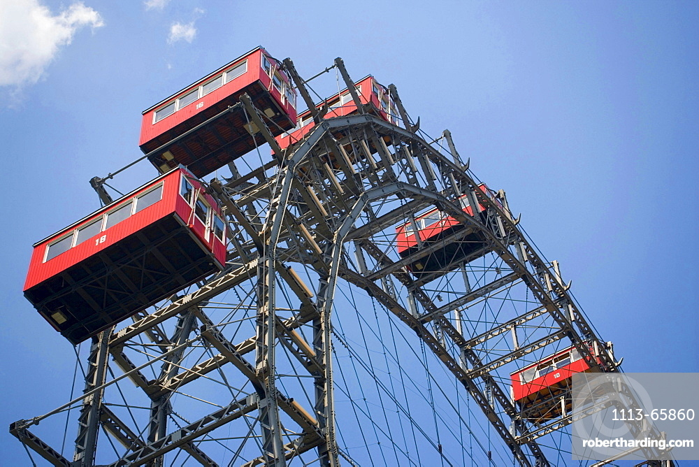 Detail of the Ferris wheel in front of blue sky, Prater, Vienna, Austria