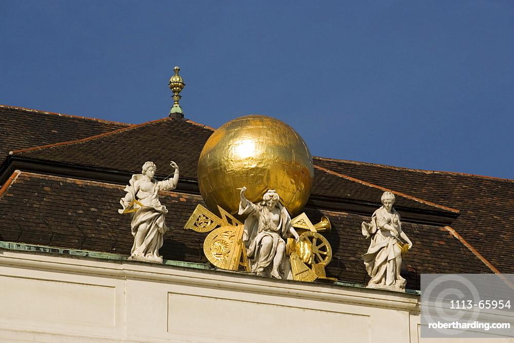 Sculptures on roof of Nationalbibliothek national library, Josefsplatz, Alte Hofburg, Vienna, Austria