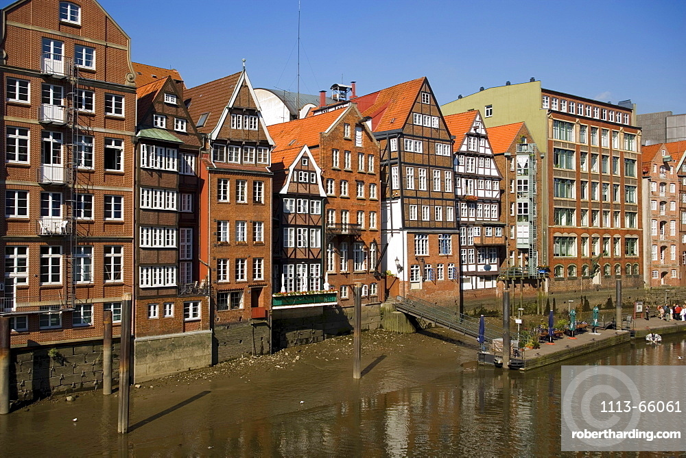 Picturesque brick-lined houses at Deichstrasse, Hamburg, Germany