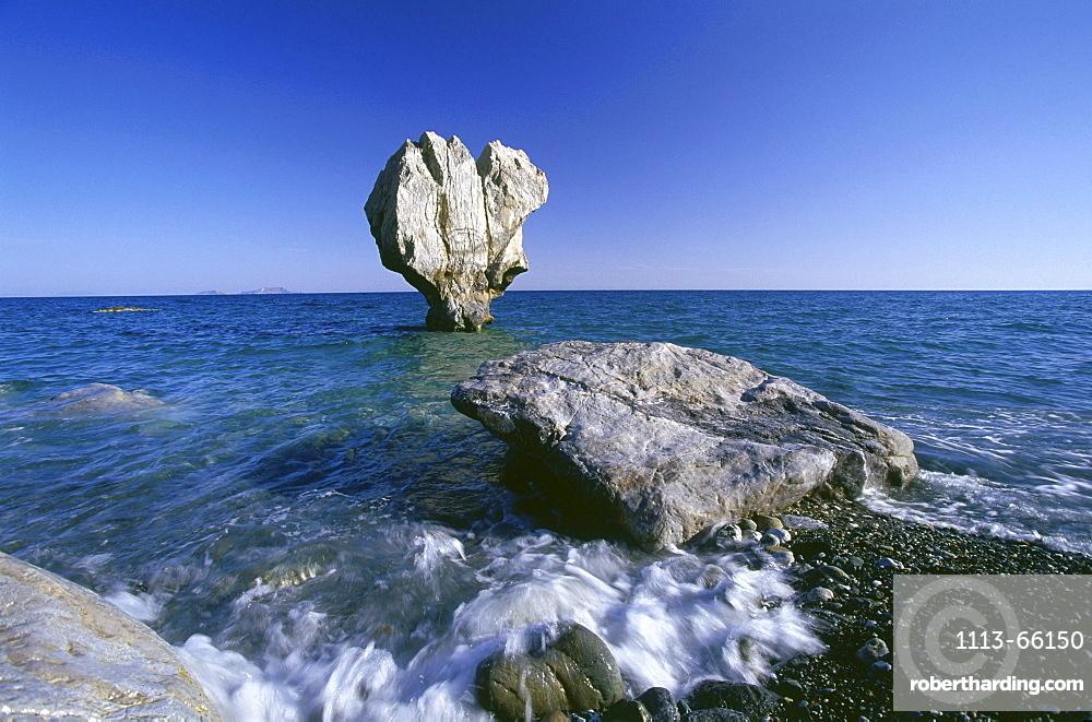 Rock in the Sea, Beach of Preveli, Crete, Greece