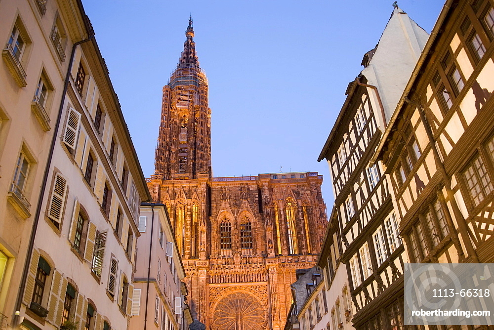 View through the Rue Merciere to the Our Lady's Cathedral, View through the Rue Merciere to the western facade and north tower of the Our Lady's Cathedral Cathedrale Notre-Dame, Rue Merciere, Strasbourg, Alsace, France