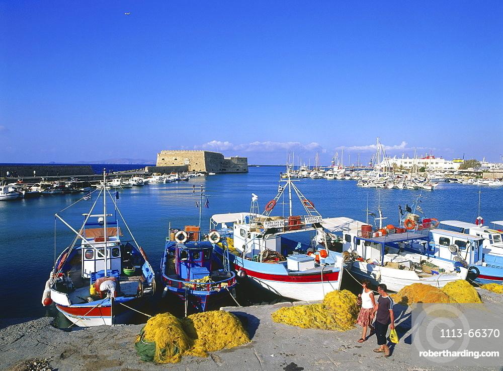 Fishing boats at Venetian Harbour, Iraklon, Crete, Greece