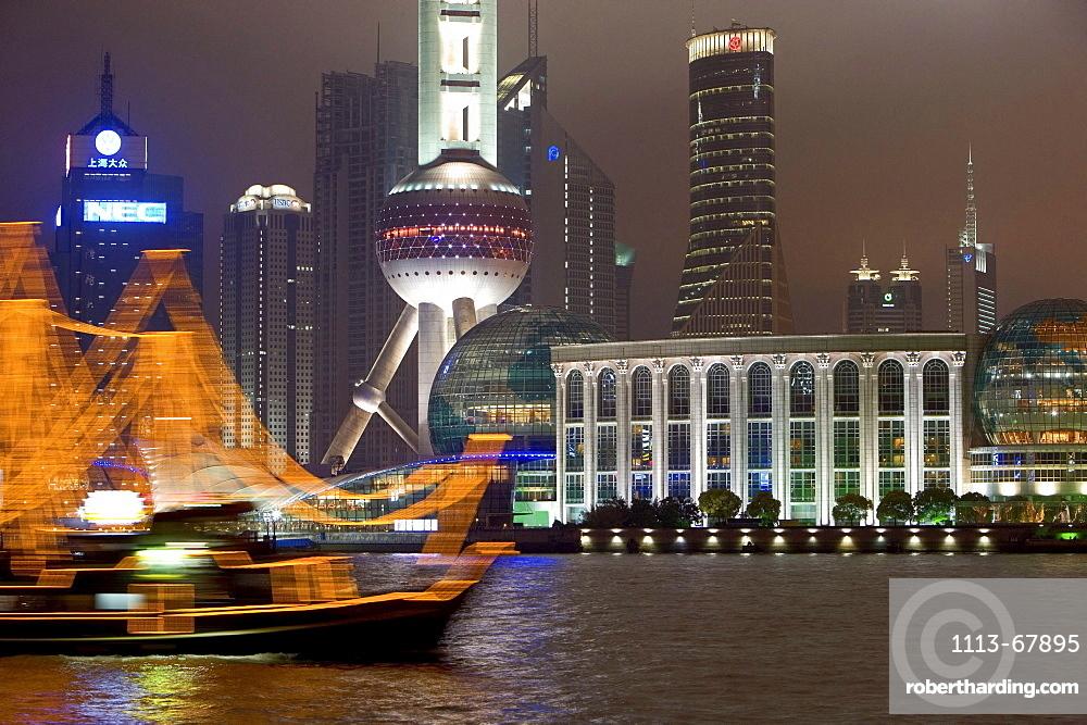 waterfront Pudong, Huangpu River, at night, Shanghai