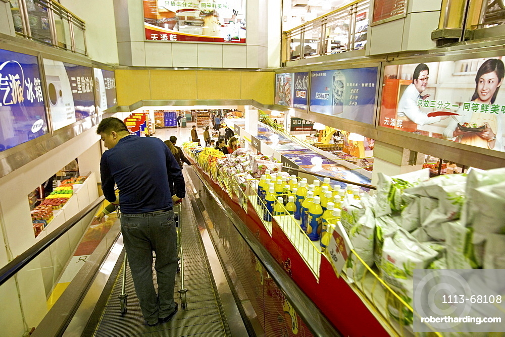 shopping malls Shanghai, Super Brand Mall, Pudong, escalator, shops, stores, mega malls, multi-storey, advertising, consumers, biggest department store