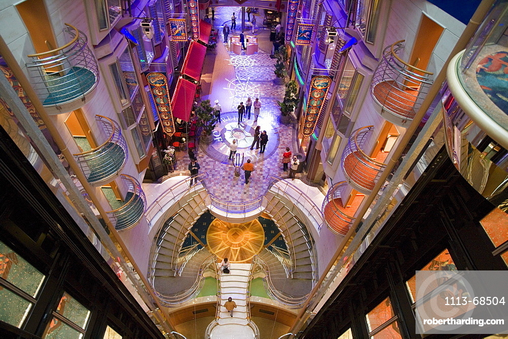 View from Deck 10 onto Royal Promenade, Freedom of the Seas Cruise Ship, Royal Caribbean International Cruise Line