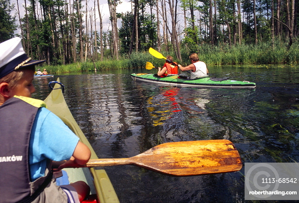 Kayaking down the Krutynia River, Masuria, Poland