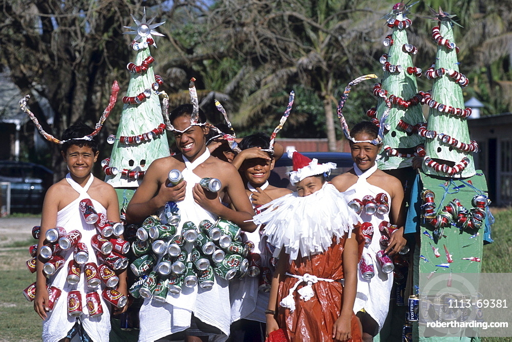 Christmas costumes made from recycled cans, Jingle Bells Fun Run, Avarua, Rarotonga, Cook Islands
