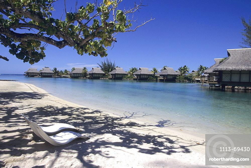 Beach Chairs & Overwater Bungalows, InterContinental Beachcomber Resort, Moorea, French Polynesia