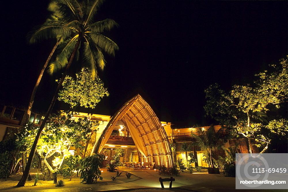 Entrance Lobby at Night, Taha'a Pearl Beach Resort, Taha'a, French Polynesia