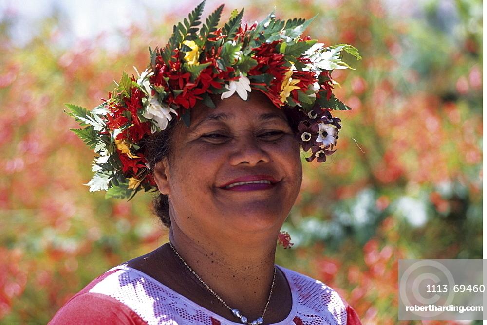 Polynesian Woman with Flower Headdress, Raiatea, French Polynesia