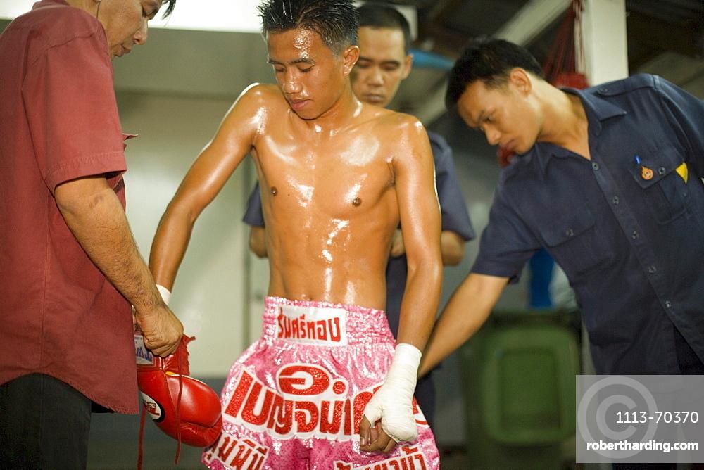 Close-up of a Thai Boxer, Thai Boxing, Lumphini Stadium, Bangkok, Thailand