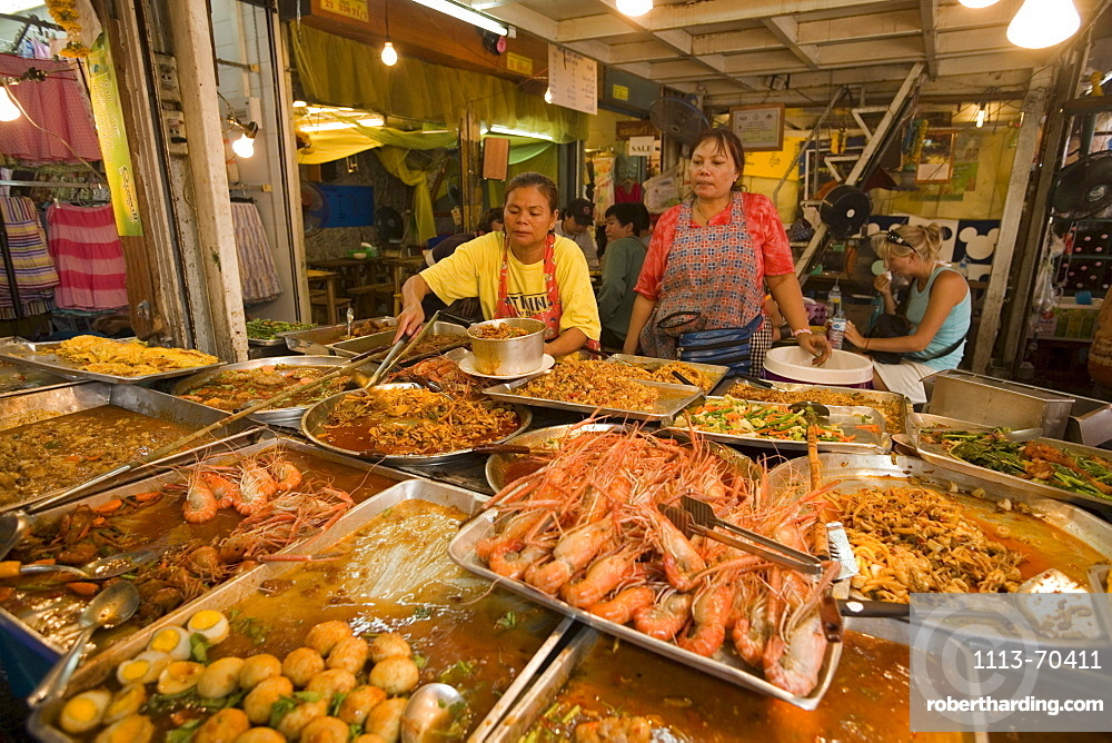 A typical food stall with Thai food at Suan Chatuchak Weekend Market, Bangkok, Thailand