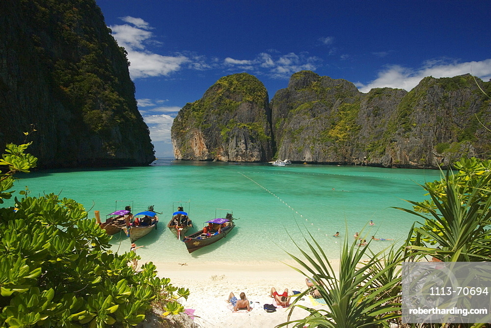 View over Maya Bay, a beautiful scenic lagoon, famous for the Hollywood film