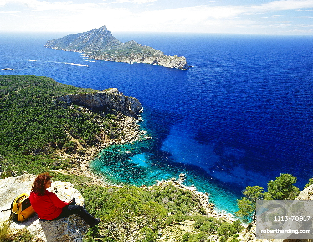 Hike to Sa Trapa, Cala Basset, Isla Dragonera, near Sant Telm, Mallorca, Spain