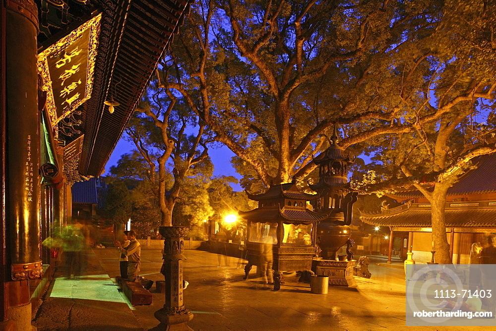 Puji Si Temple, ginko trees, pilgrims, Buddhist Island of Putuo Shan near Shanghai, Zhejiang Province, East China Sea, China, Asia