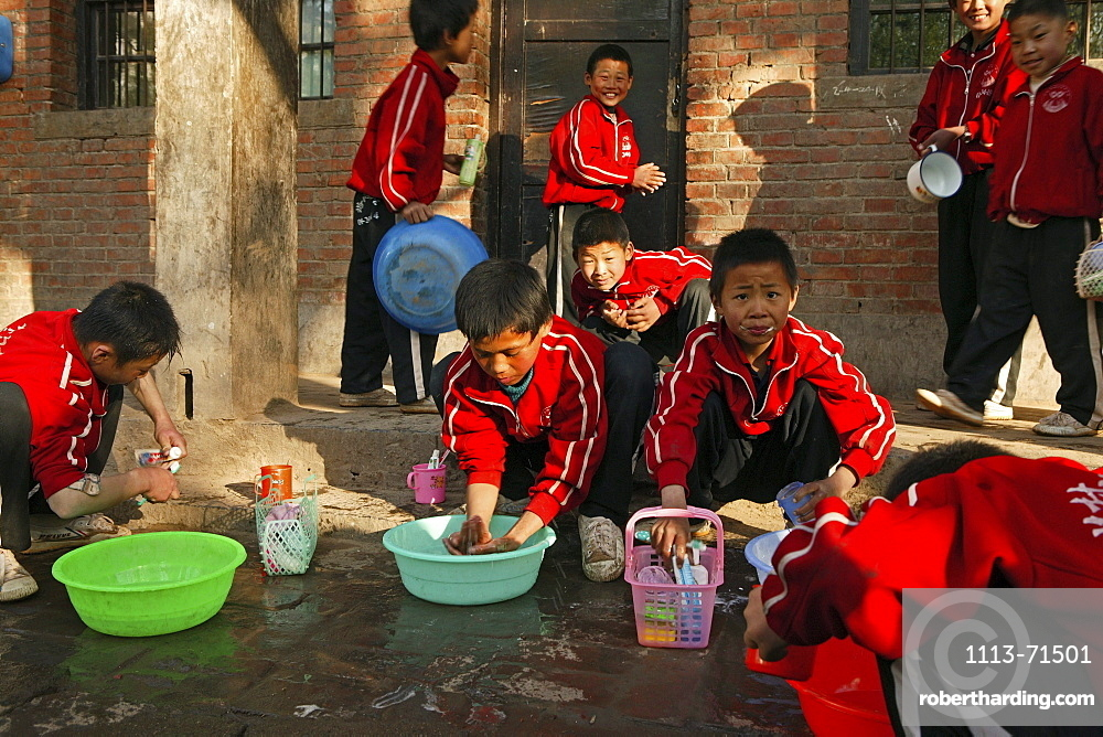outdoor bathroom in a courtyard of a new Kung Fu school, washing hair, face, cleaning teeth, near Shaolin, Song Shan, Henan province, China, Asia
