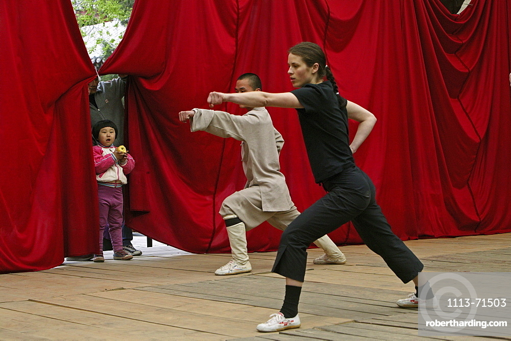 practice for foreign students in side courtyard of the Shaolin Monastery, known for Shaolin boxing, Taoist Buddhist mountain, Song Shan, Henan province, China, Asia