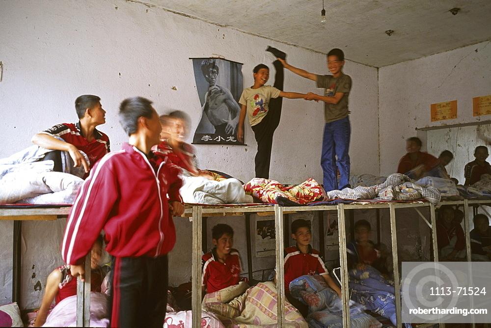 dormitory in Kung Fu school near Shaolin, 1987, Song Shan, Henan province, China, Asia