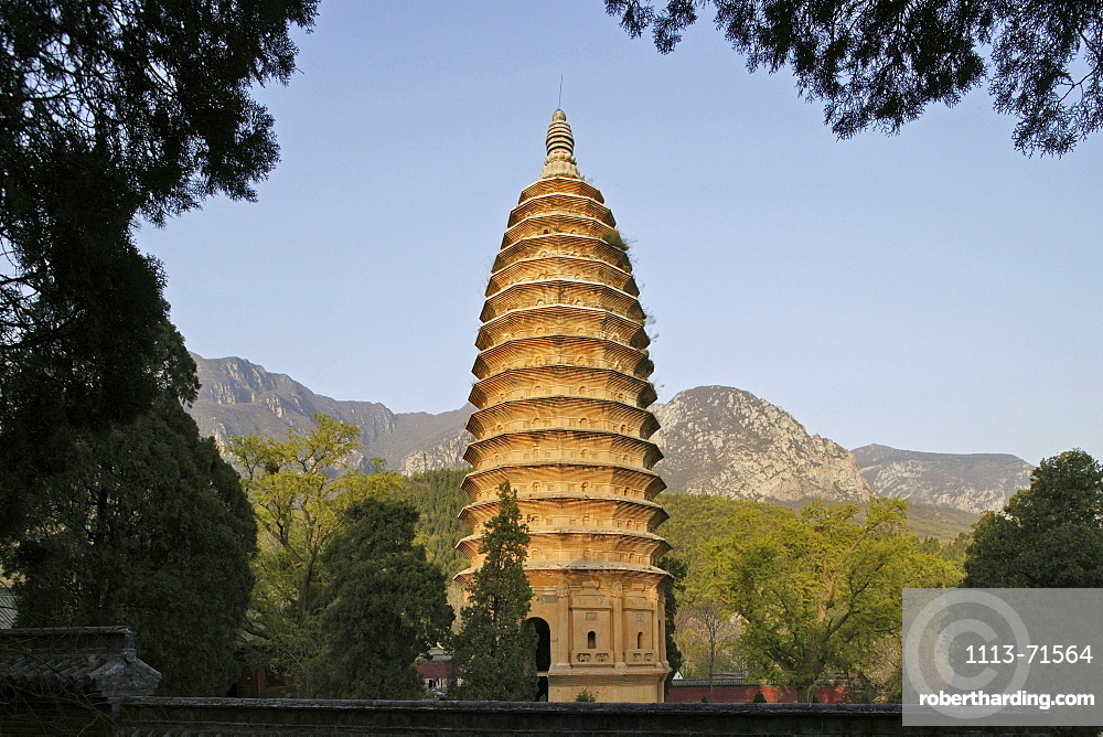 Songyue Temple Pagoda near the Shaolin Monastery is the oldest pagoda in China, with twelve sides, Taoist Buddhist mountain, Song Shan, Henan province, China