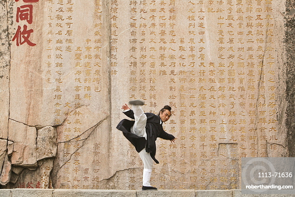 Taoist monk Zhang Qingren demonstrating Tai Ch infront of a famous inscription from Emperor Xuanzong, Hou Shi Wu Temple, Mount Tai, Tai Shan, Shandong province, World Heritage, UNESCO, China