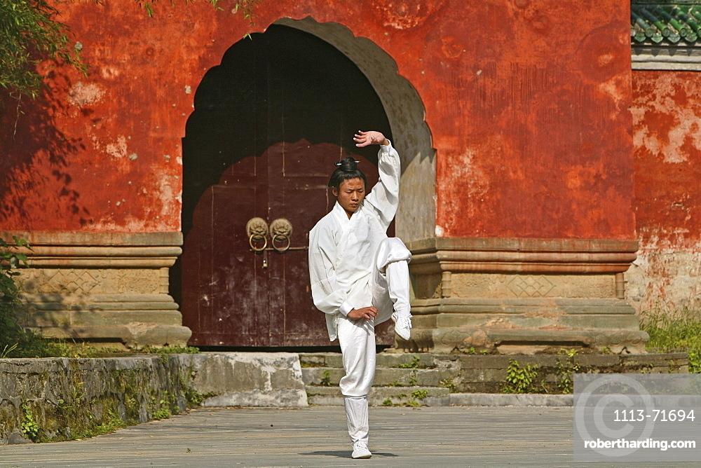 Taichi training from Wudang School of Martial Arts, in front of Purple Heaven Hall, Zi Xiao Gong, peak 1613 metres high, Wudang Shan, Taoist mountain, Hubei province, Wudangshan, Mount Wudang, UNESCO world cultural heritage site, birthplace of Tai chi, China, Asia