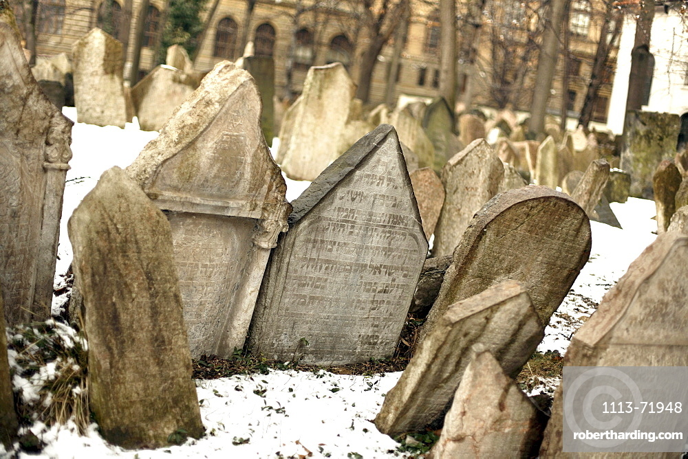 Gravestones in an Old Jewish Cemetery, Josefov, Prague, Czech Republic