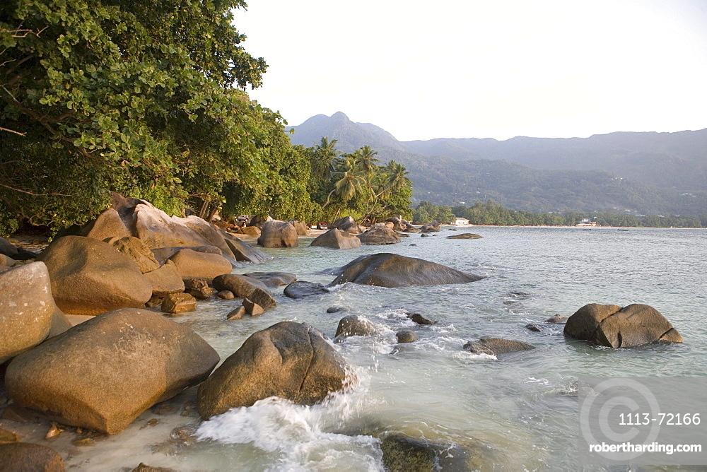 Granite Rocks at Beau Vallon Beach, Beau Vallon, Mahe Island, Seychelles