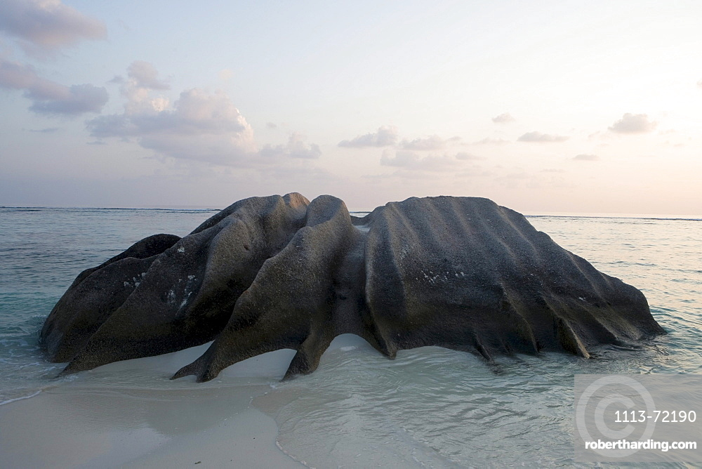 Granite Rock at Sunset, Anse Source D'Argent Beach, La Digue Island, Seychelles