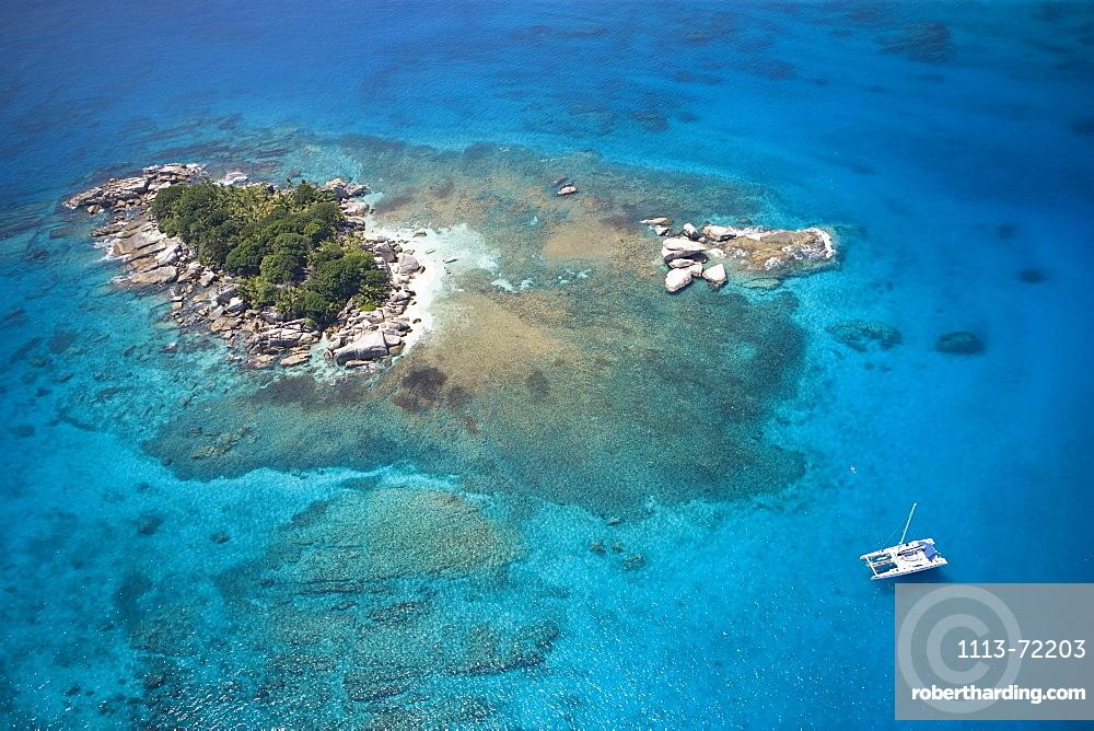 Aerial Photo of Catamaran at Coco Island, Near La Digue Island, Seychelles