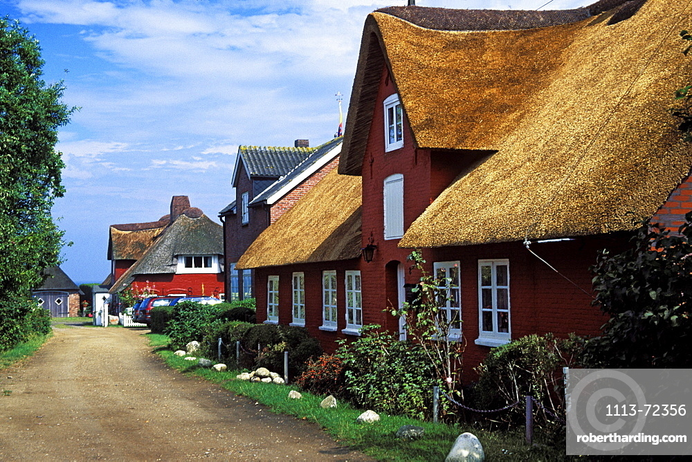 frisian houses, Nebel, Amrum Island, Northfriesian Islands, Schleswig-Holstein, Germany