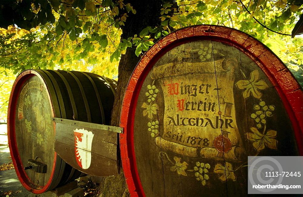 Two wine casks, Altenahr, Eifel, Rhineland-Palatinate, Germany