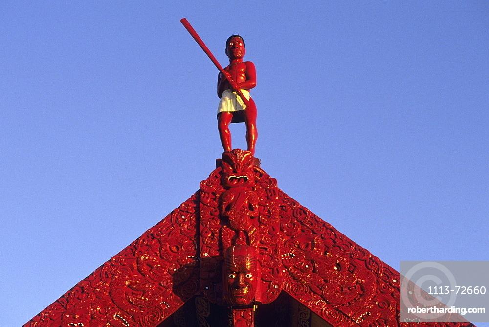 Maori Meeting House Carvings, Te Takinga Marae, near Rotorua, North Island, New Zealand